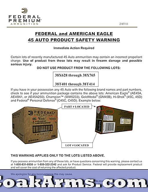 Federal and American Eagle .45 Auto productveiligheidswaarschuwing.